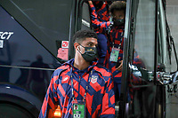 KANSAS CITY, KS - JULY 15: Miles Robinson #12 of the United States arriving at the stadium before a game between Martinique and USMNT at Children's Mercy Park on July 15, 2021 in Kansas City, Kansas.