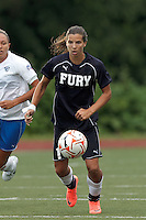 New York Fury midfielder Tobin Heath (19) brings the ball forward. In a Women's Premier Soccer League Elite (WPSL) match, the Boston Breakers defeated New York Fury, 2-0, at Dilboy Stadium on June 23, 2012.