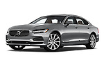 Stock pictures of low aggressive front three quarter view of a 2019 Volvo S90 Inscription PHEV T8 AWD 4 Door Sedan