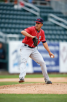 New Hampshire Fisher Cats relief pitcher Jose Fernandez (35) delivers a pitch during the first game of a doubleheader against the Harrisburg Senators on May 13, 2018 at FNB Field in Harrisburg, Pennsylvania.  New Hampshire defeated Harrisburg 6-1.  (Mike Janes/Four Seam Images)