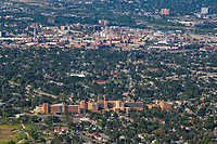 Aerial of  St. Mary Corwin hospital with downtown Pueblo in background.