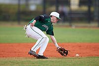 Dartmouth Big Green second baseman Sean Sullivan (4) fields a ground ball during a game against the Southern Maine Huskies on March 23, 2017 at Lake Myrtle Park in Auburndale, Florida.  Dartmouth defeated Southern Maine 9-1.  (Mike Janes/Four Seam Images)
