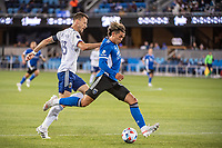SAN JOSE, CA - MAY 01: Frederic Brillant #13 of DC United watched Cade Cowell #44 of the San Jose Earthquakes shoot the ball during a game between San Jose Earthquakes and D.C. United at PayPal Park on May 01, 2021 in San Jose, California.