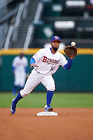 Buffalo Bisons second baseman Alexi Casilla (12) waits for a throw during a game against the Durham Bulls on June 13, 2016 at Coca-Cola Field in Buffalo, New York.  Durham defeated Buffalo 5-0.  (Mike Janes/Four Seam Images)