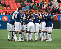 22 April 2009: Chivas USA players huddle before the start at BMO Field in a MLS game between Chivas USA and Toronto FC.Toronto FC won 1-0. .