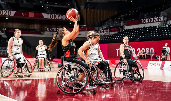 Rosalie Lalonde, Tokyo 2020 - Wheelchair Basketball // Basketball en fauteuil roulant.<br /> Canada takes on Germany in a women's preliminary game // Le Canada affronte le Japon dans un match préliminaire masculin. 28/08/2021.