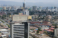 ETHIOPIA , Addis Abeba, construction boom, most of the construction is done by chinese companies / AETHIOPIEN, Addis Abeba, Bauboom, die meisten Hochhaeuser werden von chinesischen Firmen gebaut