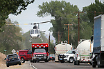 A Care Flight helicopter takes off from Highway 208 following a bicycle accident south of Yerington, Nev., on Thursday, Sept. 13, 2018. <br /> Photo by Cathleen Allison/Nevada Momentum