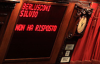 "Il tabellone elettronico durante la quinta seduta comune di senatori e deputati per l'elezione del nuovo Capo dello Stato alla Camera dei Deputati, Roma, 20 aprile 2013..The scoreboard reads ""Berlusconi Silvio did not answer"", referring to the Italian People of Freedom party's leader Silvio Berlusconi, who did not attend the fifth common plenary session of senators and deputies to elect the new Head of State, at the Lower Chamber in Rome, 20 April 2013..UPDATE IMAGES PRESS/Isabella Bonotto"