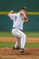 Pitcher Trey Van Der Weide (31) of the University of South Carolina Upstate Spartans delivers a pitch in a game against the Kennesaw State Owls on Thursday, March 29, 2018, at Cleveland S. Harley Park in Spartanburg, South Carolina. (Tom Priddy/Four Seam Images)