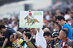 SHA TIN,HONG KONG-APRIL 30: The fan cheers Neorealism in the Audemars Piguet QEII Cup at Sha Tin Racecourse on April 30,2017 in Sha Tin,New Territories,Hong Kong (Photo by Kaz Ishida/Eclipse Sportswire/Getty Images)