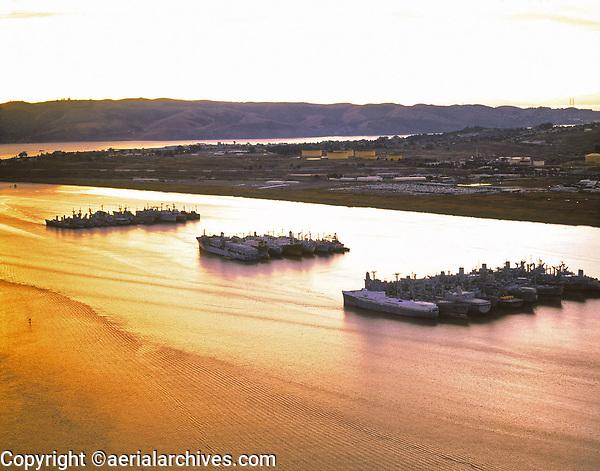 aerial photograph of the mothball fleet, Suisun Bay,  Solano County, California at sunset, 1999