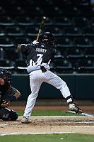 Winston-Salem Dash center fielder Terrell Tatum (7) at bat against the Asheville Tourists at Truist Stadium on September 17, 2021 in Winston-Salem, North Carolina. (Brian Westerholt/Four Seam Images)