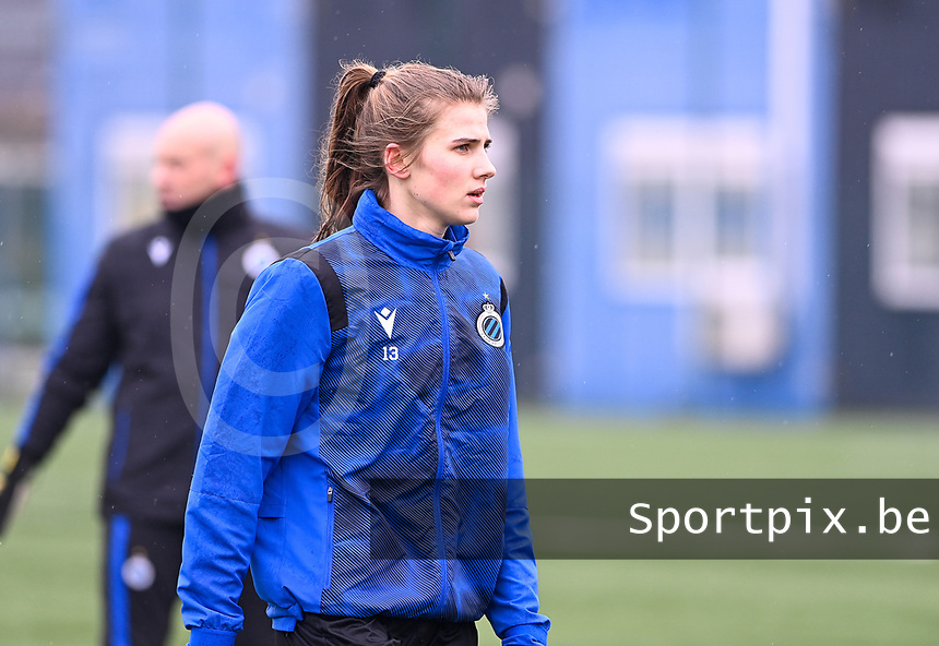 Marie Minnaert (13) of Club Brugge pictured during a female soccer game between Club Brugge Dames YLA and White Star Woluwe on the 12 th matchday of the 2020 - 2021 season of Belgian Scooore Womens Super League , saturday 30 January 2021  in Brugge , Belgium . PHOTO SPORTPIX.BE | SPP | DAVID CATRY