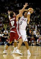 US Men's Basketball team guard (5) Jason Kidd tries to keep the ball away from Turkish guard (10) Kerem Tunceri at the Cotai Arena in the Venetian Macau Hotel & Resort.  The US defeated Turkey, 114-82.