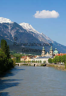 Austria, Tyrol, Innsbruck at river Inn: St. James Cathedral, City-Tower and Nordkette mountains