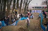 DERVEAUX Niels (BEL/Tarteletto-Isorex) 'flying' down the dirt jump section<br /> <br /> GP Sven Nys (BEL) 2019<br /> U23 Men's Race<br /> DVV Trofee<br /> ©kramon