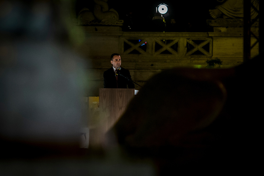 Luigi Di Maio speaking in Piazza del Popolo in Rome during the Five Star Movements final rally on March 2nd 2018.