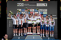 The winning Dutch Team: Jos Van Emden (NED/Jumbo-Visma), Koen Bouwman (NED/Jumbo-Visma), Bauke Mollema  (NED/Trek-Segafredo), Lucinda Brand (NED/Sunweb), Riejanne Markus (NED) & Amy Pieters (NED)<br /> <br /> Team Time Trial Mixed  Relay<br /> <br /> 2019 Road World Championships Yorkshire (GBR)<br /> <br /> ©kramon
