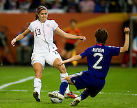 Alex Morgan, Yukari Kinga.  Japan won the FIFA Women's World Cup on penalty kicks after tying the United States, 2-2, in extra time at FIFA Women's World Cup Stadium in Frankfurt Germany.