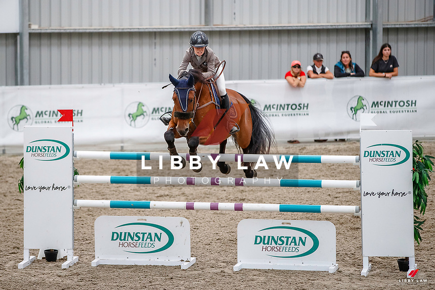 NZL-Olivia Dalton rides Yalambi's Garabaldi. Class 23: Fiber Fresh Horse 1.40m Ranking Class. 2021 NZL-Easter Jumping Festival presented by McIntosh Global Equestrian and Equestrian Entries. NEC Taupo. Saturday 3 April. Copyright Photo: Libby Law Photography