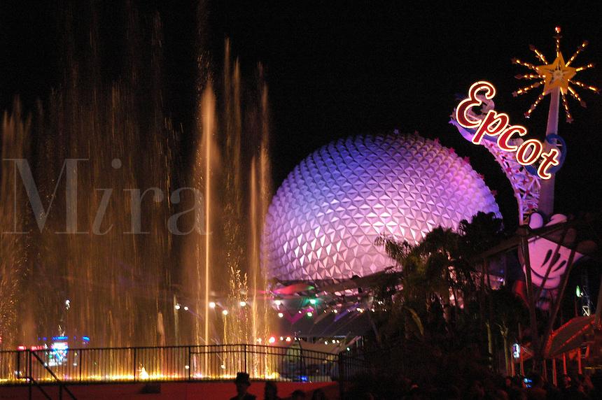 The Spaceship Earth ride at night in Epcot Center at Walt Disney World Theme Park, Orlando, Florida..