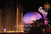 The Spaceship Earth ride at night in Epcot Center at Walt Disney World Theme Park, Orlando, Florida..