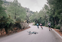 Gregor Mühlberger (AUT/Bora-Hansgrohe) crashed in the race finale (on a slippery descent) right in front of Alejandro Valverde (ESP/Movistar) & Gianluca Brambilla (ITA/Trek-Segafredo)<br /> <br /> Trofeo Lloseta - Andratx: 140km<br /> 27th Challenge Ciclista Mallorca 2018