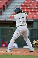 Louisville Bats third baseman Chris Nelson (12) at bat during a game against the Buffalo Bisons on April 29, 2014 at Coca-Cola Field in Buffalo, New  York.  Buffalo defeated Louisville 4-1.  (Mike Janes/Four Seam Images)
