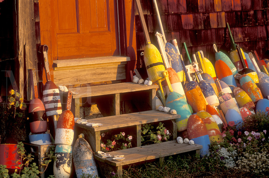 buoys, Rockport, Massachusetts, MA, Fishing buoys leaning against a wall of a red house next to steps in the fall.