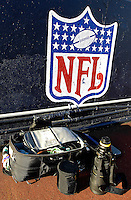 21 October 2007: Some of photographer Ed Wolfstein's equipment lies on the sidelines of Ralph Wilson Stadium in Orchard Park, NY. ..Mandatory Photo Credit: Ed Wolfstein Photo