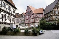 Bad Wimpfen: Buildings around the square. Fachwerk design. Photo '87.