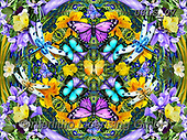 Lori, FLOWERS, BLUMEN, FLORES, paintings+++++Blue purple and Yellow Butterflies_2013_Kaleidoscope_72,USLS07,#F#, EVERYDAY ,puzzles