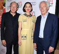 HOLLYWOOD, LOS ANGELES, CA, USA - NOVEMBER 07: Luc Dardenne, Marion Cotillard, Jean-Pierre Dardenne arrive at the AFI FEST 2014 - 'Two Days, One Night' Special Screening held at the Egyptian Theatre on November 7, 2014 in Hollywood, Los Angeles, California, United States. (Photo by Celebrity Monitor)