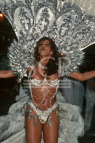 Rio de Janeiro, Brazil. Samba dancer in revealing strasse bikini costume during the carnival parade.