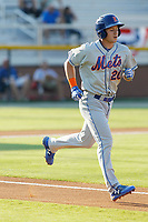 Kingsport Mets outfielder Jarred Kelenic (20) running to first base after drawing a walk during a game against the Burlington Royals at Burlington Athletic Complex on July 28, 2018 in Burlington, North Carolina. Burlington defeated Kingsport 4-3. (Robert Gurganus/Four Seam Images)
