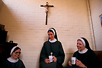 Nuns Two sisters Mother Superior in their Priory, an office meeting Church of England Society of St Margaret London 1989 1980s