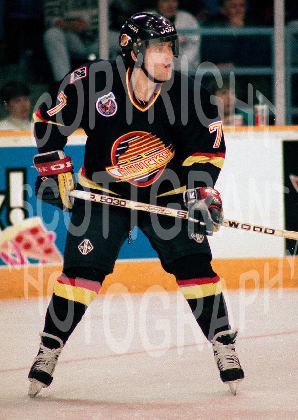 Cliff Ronning Vancouver Canucks 1993. Photo F. Scott Grant