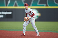 Arkansas Razorbacks second baseman Casey Martin (15) on defense against the Charlotte 49ers at Hayes Stadium on March 21, 2018 in Charlotte, North Carolina.  The 49ers defeated the Razorbacks 6-3.  (Brian Westerholt/Four Seam Images)
