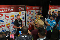 NZ Rugby's Nigel Cass announces a future venue change for the Hamilton Sevens. Day one of the 2020 HSBC World Sevens Series Hamilton at FMG Stadium in Hamilton, New Zealand on Saturday, 25 January 2020. Photo: Dave Lintott / lintottphoto.co.nz