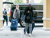 ORLANDO, FL - FEBRUARY 8: Crystal Dunn #19 of the USWNT arrives at the team hotel on February 8, 2021 in Orlando, Florida.