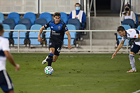 SAN JOSE, CA - OCTOBER 07: Cade Cowell #44 of San Jose Earthquakes during a game between Vancouver Whitecaps and San Jose Earthquakes at Earthquakes Stadium on October 07, 2020 in San Jose, California.
