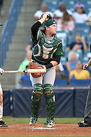 Daytona Tortugas catcher Chad Wallach (15) looks for a foul ball pop up during a game against the Tampa Yankees on April 24, 2015 at George M. Steinbrenner Field in Tampa, Florida.  Tampa defeated Daytona 12-7.  (Mike Janes/Four Seam Images)