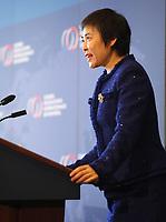 Fang Liu, Secretaire generale, Organisation de l'aviation civile internationale (OACI) discute de ''L'aviation civile : moteur du developpement durable dans le monde'' a la tribune du CORIM, le 13 février 2018, au Westin Montreal<br /> PHOTO : Agence Quebec Presse<br /> Fang Liu, Secretaire generale, Organisation de l'aviation civile internationale (OACI) discute de ''L'aviation civile : moteur du developpement durable dans le monde'' a la tribune du CORIM, le 13 février 2018, au Westin Montreal<br /> PHOTO : Agence Quebec Presse