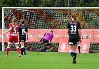 Standard scores a goal during a female soccer game between Standard Femina de Liege and Eendracht Aalst dames on the fourth matchday in the 2021 - 2022 season of the Belgian Scooore Womens Super League , Saturday 11 th of September 2021  in Angleur , Belgium . PHOTO SPORTPIX | BERNARD GILLET
