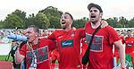 10.08.2019, Donaustadion, Ulm, GER, DFB Pokal, SSV Ulm 1846 Fussball vs 1. FC Heidenheim, <br /> DFL REGULATIONS PROHIBIT ANY USE OF PHOTOGRAPHS AS IMAGE SEQUENCES AND/OR QUASI-VIDEO, <br /> im Bild nach Spielende feiern die Heidenheimer Spieler den Sieg, in der Bildmitte Marc Schnatterer (Heidenheim, #7) mit zwei Fans<br /> <br /> Foto © nordphoto / Hafner