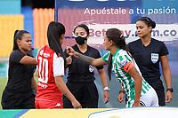 MEDELLIN - COLOMBIA, 01-09-2021: Atlético Nacional e Independiente Santa Fe en partido por la semifinal ida como parte de la Liga Femenina BetPlay DIMAYOR 2021 jugado en el estadio Atanasio Girardot de la ciudad de Medellín. / Atletico Nacional and Independiente Santa Fe in match for the first leg semifinal as part of the BetPlay DIMAYOR 2021 Women's League played at Atanasio Girardot stadium in Medellín city. Photo: VizzorImage / Donaldo Zuluaga / Cont