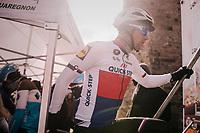 Zdenek Stybar (CZE/Quick-Step Floors) climbing the sign-on podium steps<br /> <br /> 50th GP Samyn 2018<br /> Quaregnon > Dour: 200km (BELGIUM)