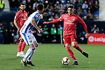 CD Leganes's Javier Eraso and Real Madrid's Federico Valverde during La Liga match between CD Leganes and Real Madrid at Butarque Stadium in Leganes, Spain. April 15, 2019. (ALTERPHOTOS/A. Perez Meca)