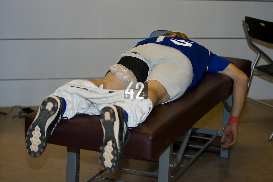 23 August 2007: #15 Luc Piquet rests after the France 8-4 victory over Czech Republic in the Good Luck Beijing International baseball tournament (olympic test event) at the Wukesong Baseball Field in Beijing, China.
